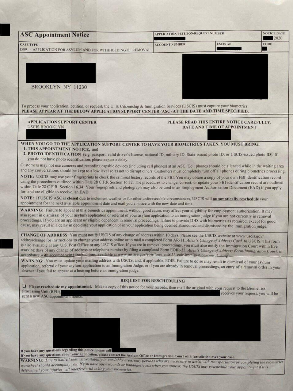 форма I-797C - Biometric Services Notice