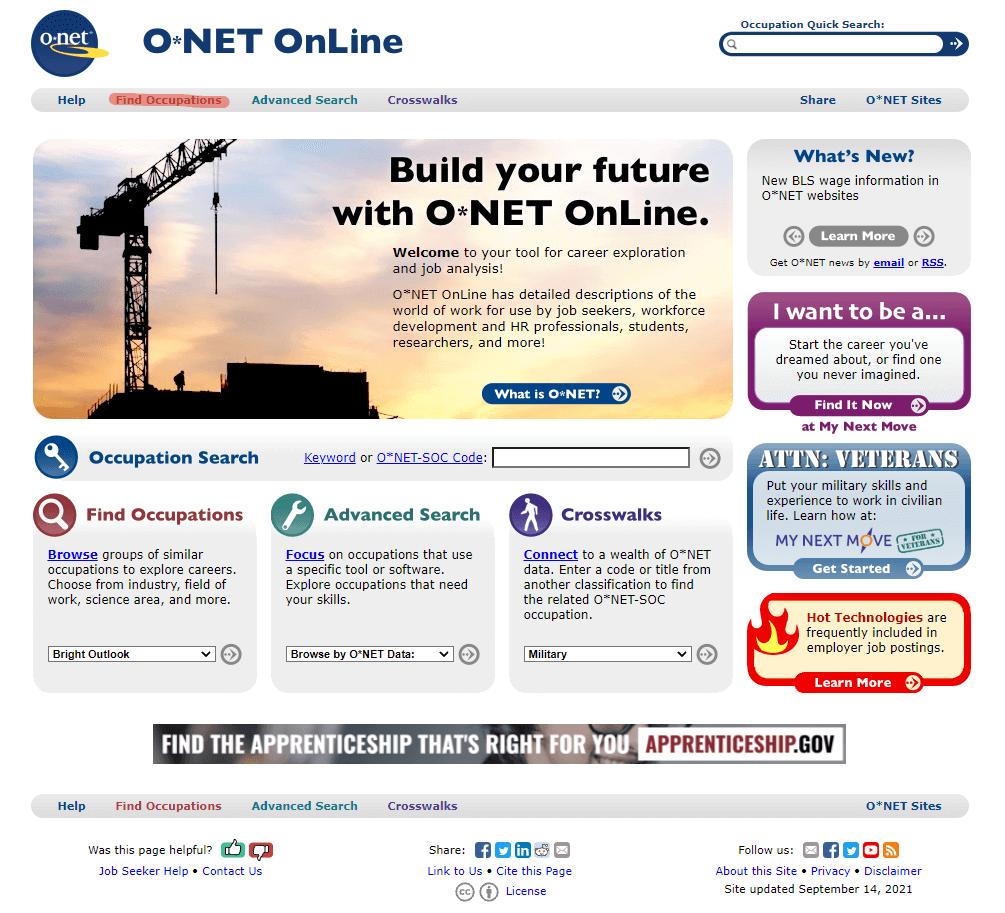 Сайт onetonline.org